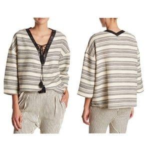 Rebecca Minkoff Cream Striped Boho V-neck Tunic L